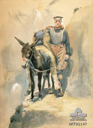 Painting of a man with his donkey. Courtesy of Australian War Memorial.