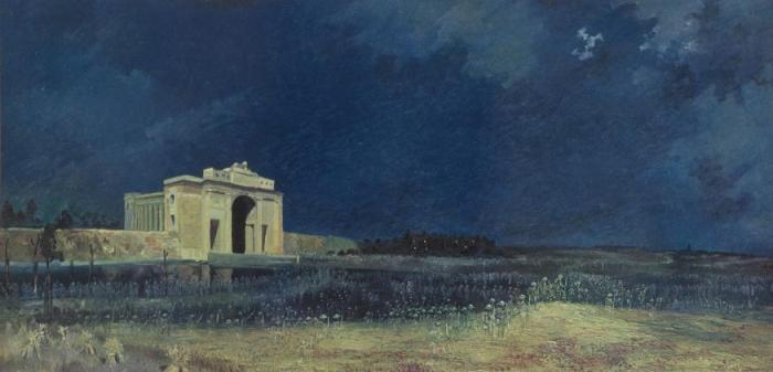Painting of the Menin Gate at midnight, showing the gate and ghostly outlines of soldiers.